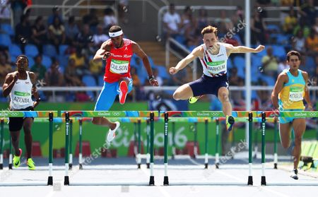 Javier Culson (2-l) of Puerto Rico and Karsten Warholm (2-r) of Norway Compete During the Men's 400m Hurdles Heats of the Rio 2016 Olympic Games Athletics Track and Field Events at the Olympic Stadium in Rio De Janeiro Brazil 15 August 2016 Brazil Rio De Janeiro