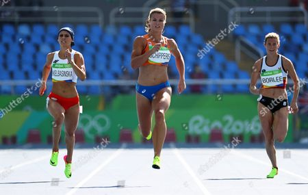 (l-r) Anna Kielbasinska of Poland Dafne Schippers of the Netherlands and Olivia Borlee of Belgium Compete During the Women's 200m Heats of the Rio 2016 Olympic Games Athletics Track and Field Events at the Olympic Stadium in Rio De Janeiro Brazil 15 August 2016 Brazil Rio De Janeiro