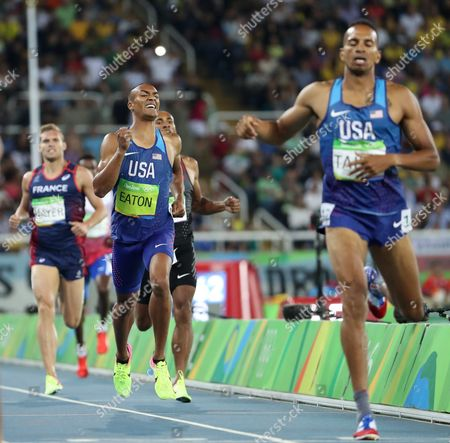 Ashton Eaton of the Usa (c) and Kevin Mayer of France (l) Heads to the Finish in the Decathlon 1500m Race of the Rio 2016 Olympic Games Athletics Track and Field Events at the Olympic Stadium in Rio De Janeiro Brazil 18 August 2016 Eaton Won the Gold Medal in the Decathlon and Mayer Won the Silver Medal Brazil Rio De Janeiro