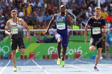 (l-r) Julian Reus of Germany Lashwan Merritt of the Usa and Christophe Lemaitre of France Compete During the Men's 200m Heats of the Rio 2016 Olympic Games Athletics Track and Field Events at the Olympic Stadium in Rio De Janeiro Brazil 16 August 2016 Brazil Rio De Janeiro