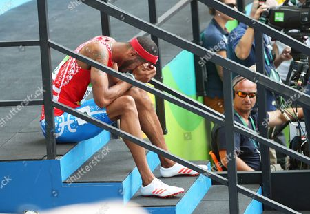 Javier Culson of Puerto Rico Reacts After Competing During the Men's 400m Hurdles Final of the Rio 2016 Olympic Games Athletics Track and Field Events at the Olympic Stadium in Rio De Janeiro Brazil 18 August 2016 Brazil Rio De Janeiro