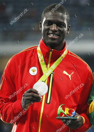 Silver Medalist Kirani James of Grenada During the Medal Ceremony For the Men's 400m of the Rio 2016 Olympic Games Athletics Track and Field Events at the Olympic Stadium in Rio De Janeiro Brazil 15 August 2016 Brazil Rio De Janeiro