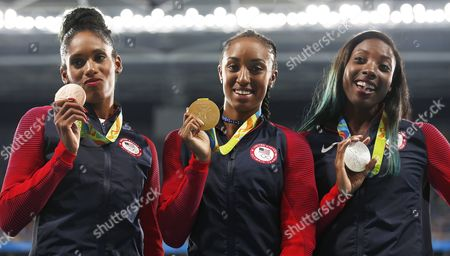 Gold Medalist Brianna Rollins (c) Silver Medalist Nia Ali (r) and Bronze Winner Kristi Castlin Pose For an All Usa Podium in the 100m Hurdles of the Rio 2016 Olympic Games Athletics Track and Field Events at the Olympic Stadium in Rio De Janeiro Brazil 18 August 2016 Brazil Rio De Janeiro