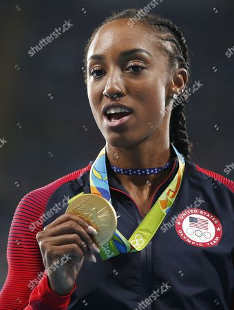 Gold Medalist Brianna Rollins of the Usa During the Podium For the 100m Hurdles of the Rio 2016 Olympic Games Athletics Track and Field Events at the Olympic Stadium in Rio De Janeiro Brazil 18 August 2016 Brazil Rio De Janeiro
