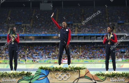 Gold Medalist Brianna Rollins (c) Silver Medalist Nia Ali (l) and Bronze Winner Kristi Castlin Pose For an All Usa Podium in the 100m Hurdles of the Rio 2016 Olympic Games Athletics Track and Field Events at the Olympic Stadium in Rio De Janeiro Brazil 18 August 2016 Brazil Rio De Janeiro