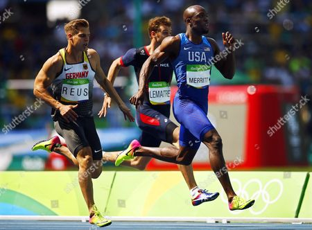 (l-r) Julian Reus of Germany Christophe Lemaitre of France and Lashwan Merritt of the Usa Compete During the Men's 200m Heats of the Rio 2016 Olympic Games Athletics Track and Field Events at the Olympic Stadium in Rio De Janeiro Brazil 16 August 2016 Brazil Rio De Janeiro