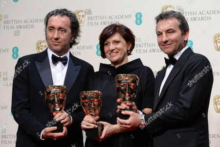 (l-r) Italian Director Paolo Sorrentino and Producers Francesca Cima and Nicola Giuliano Pose in the Press Room After Winning the Film not in the English Language in 2014 Award For 'La Grande Bellezza (the Great Beauty)' at the 2014 Ee British Academy Film Awards Ceremony at the Royal Opera House in London Britain 16 February 2014 the Ceremony was Hosted by the British Academy of Film and Television Arts (bafta) United Kingdom London