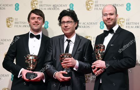 Director Michael Lennox (r) Screenwriter Ronan Blaney (l) and Producer Brian J Falconer (r) Pose in the Press Room After Winning the Best Short Film Award For 'Boogaloo and Graham' During the 2015 British Academy Film Awards at the Royal Opera House in London Britain 08 February 2015 the Ceremony is Hosted by the British Academy of Film and Television Arts (bafta) United Kingdom London