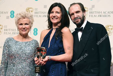 British Producer Christine Langan (c) From the Bbc Poses in the Press Room with British Actress Julie Walters (l) and British Actor Ralph Fiennes (r) After Winning the Outstanding British Contribution to Cinema Award During the 2015 British Academy Film Awards at the Royal Opera House in London Britain 08 February 2015 the Ceremony is Hosted by the British Academy of Film and Television Arts (bafta) United Kingdom London