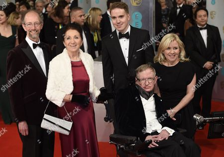 British Scientist Stephen Hawking (c) Arrives on the Red Carpet with Former Wife Jane Hawking (l) and Daughter Lucy Hawking (r) For the 2015 British Academy Film Awards Ceremony at the Royal Opera House in London Britain 08 February 2015 the Ceremony is Hosted by the British Academy of Film and Television Arts (bafta) United Kingdom London