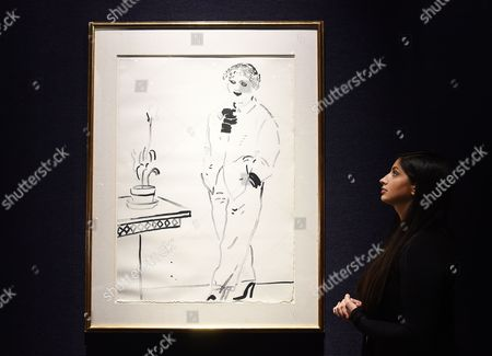 A Bonham's Staff Looks Over David Hockney's 'Celia Amused' (1979) Lithograph During the Lauren Bacall Collection Sale at Bonham's in London Britain 13 February 2015 the Artwork is Expected Between 5 300-7 900 Euros at an Auction in New York on 31 March United Kingdom London