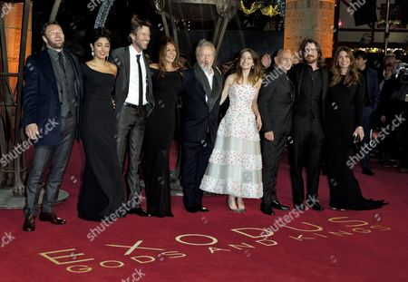 (l-r) Australian Actor Joel Edgerton Iranian Actress Golshifteh Farahani Us Actor Andrew Tarbet Costa Rican Actress Giannina Facio British Director Ridley Scott Spanish Actress Maria Valverde British Actor Sir Ben Kingsley British Actor Christian Bale and Wife Sibi Blazic Pose Pose For a Photograph on the Red Carpet at the World Premiere of 'Exodus: Gods and Kings' in Leicester Square in London Britain 03 December 2014 the Movie Opens in British Cinemas on 26 December United Kingdom London