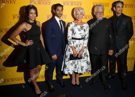 (l-r) British Actress Farzana Due Elahe Us Actor Manish Dayal British Actress Helen Mirren Indian Actor Om Puri and British Actor Amit Shah Arrive For the Gala Screening of 'The Hundred-foot Journey' at the Curzon Mayfair in London Britain 03 September 2014 the Movie Opens in British Theaters on 05 September United Kingdom London