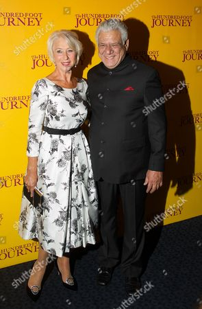 British Actress Helen Mirren (l) and Indian Actor Om Puri (r) Arrive For the Gala Screening of 'The Hundred-foot Journey' at the Curzon Mayfair in London Britain 03 September 2014 the Movie Opens in British Theaters on 05 September United Kingdom London