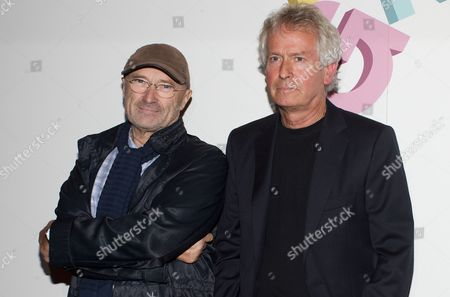 (l-r) British Musicians Phil Collins and Tony Banks From the Band Genesis Attend the Premiere Screening of the Documentary Film 'Sum of the Parts' in London Britain 02 October 2014 United Kingdom London