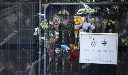 Flowers Are Seen on the Gates of the Church of St Mary Magdalene and St Lawrence During the Funeral Ceremony of British Celebrity Peaches Geldof in Faversham Kent Southeast England 21 April 2014 Peaches Geldof a 25-year-old Model Television Show Host and Writer Died on 07 April 2014 United Kingdom Faversham
