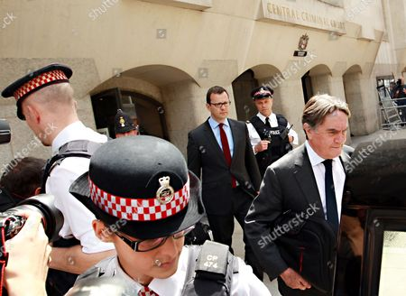 Andy Coulson Former News of the World Editor and Ex-press Secretary to British Prime Minister David Cameron Follows His Lawyer Timothy Langdale Qc (right) As He Leaves the Old Bailey Central Criminal Court in Central London After the Jury was Discharged 25 June 2014 in the Phone Hacking Trial the Jury Were Unable to Come to a Verdict in the Remaining Two Charges Against Coulson United Kingdom London