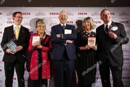Stock Image of (l-r) Writers Nathan Filer Kate Atkinson Michael Symmons Roberts Lucy Hughes-hallett and Chris Riddell Winners of the 2013 Costa Book Award Pose For a Photograph at Quaglino's in London Britain 28 January 2014 United Kingdom London