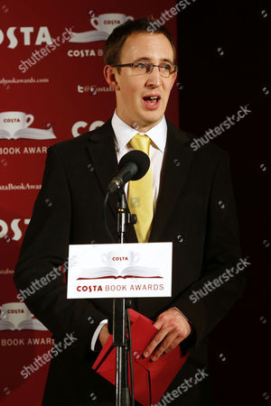 British Writer Nathan Filer Reacts After Winning the the 2013 Costa Book Awards For His Book 'The Shock of the Fall' at Quaglino's in London Britain 28 January 2014 United Kingdom London