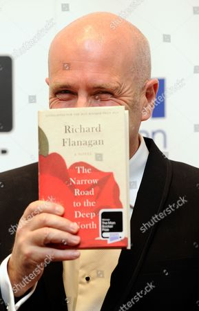 Australian Novelist Richard Flanagan Poses As Winner of the 2014 Man Booker Prize After the Announcement Held at Guildhall London Britain 14 October 2014 the Man Booker Prize is Britain's Most Coveted Literary Recognition and is Awarded Each Year For the Best Original Full-length Novel Written in the English Language by a Citizen of the Commonwealth of Nations United States Or Ireland United Kingdom London