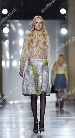 Stock Image of A Model Presents a Creation From the Autumn/winter 2015 Collection by Dutch Designer Michael Van Der Ham During the London Fashion Week in London Britain 24 February 2015 the Autumn/winter 2015 Collections Are Presented From 20 to 24 February United Kingdom London