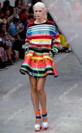 A Model Presents a Creation From the Spring/summer 2015 Collection by Designers Fyodor Podgorny From Latvia and Golan Frydman From Israel For Their British Label Fyodor Golan During the London Fashion Week in London Britain 12 September 2014 the Presentation of the Women's Collections Runs From 12 to 16 September United Kingdom London