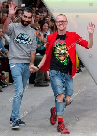 Designers Fyodor Podgorny (r) From Latvia and Golan Frydman (l) From Israel Wave After the Presentation of Their Creations For the British Label Fyodor Golan During the London Fashion Week in London Britain 12 September 2014 the Presentation of the Women's Collections Runs From 12 to 16 September United Kingdom London