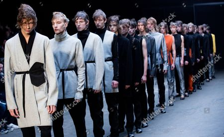 Models Present Creations From the Men's 2015 Collection by British Designer Lee Roach During the London Men's Fashion Week in London Britain 10 January 2015 the Presentation of the Fall/winter 2015 Collections Runs Until 12 January United Kingdom London