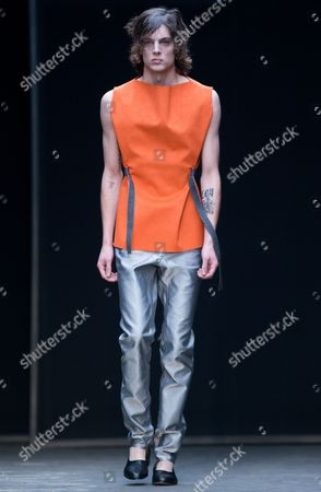 A Model Presents a Creation From the Men's 2015 Collection by British Designer Lee Roach During the London Men's Fashion Week in London Britain 10 January 2015 the Presentation of the Fall/winter 2015 Collections Runs Until 12 January United Kingdom London