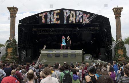 Nadya Tolokonnikova (l) and Maria Alyokhina (r) of Russian Feminist Band Pussy Riot Perform During Glastonbury Festival of Contemporary Performing Arts 2015 Held at Worthy Farm Near Pilton Somerset Britain 24 June 2015 the Outdoor Festival Runs From 24 to 29 June United Kingdom Pilton