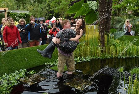 Miss Sweden Camilla Hansson Gets Carried Into the World Vision Garden During the Rhs Chelsea Flower Show in London Britain 18 May 2015 the Event is Open to the Public From 19 to 23 May United Kingdom London