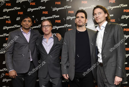 (l-r) Indian Executive Producer M Night Shyamalan Us Writer Blake Crouch Us Actor Matt Dillon and Fox International President Jan Koeppen Pose During a Photocall For the Screening of Wayward Pines at a Hotel in Central London Britain 24 March 2015 Wayward Pines is an Us Television Series Based on the Novel 'Pines' by Crouch United Kingdom London