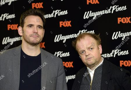 Us Actor Matt Dillon (l) and British Actor Toby Jones (r) Pose During a Photocall For the Screening of Wayward Pines at a Hotel in Central London Britain 24 March 2015 Wayward Pines is an Us Television Series Based on the Novel 'Pines' by Us Writer Blake Crouch United Kingdom London