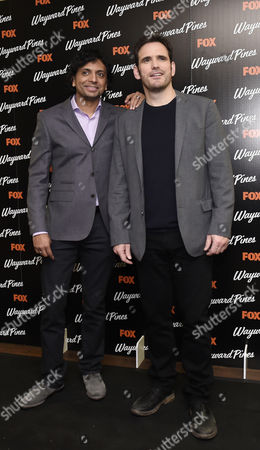 Us Actor Matt Dillon (r) and Indian Executive Producer M Night Shyamalan (l) Pose During a Photocall For the Screening of Wayward Pines at a Hotel in Central London Britain 24 March 2015 Wayward Pines is an Us Television Series Based on the Novel 'Pines' by Us Writer Blake Crouch United Kingdom London
