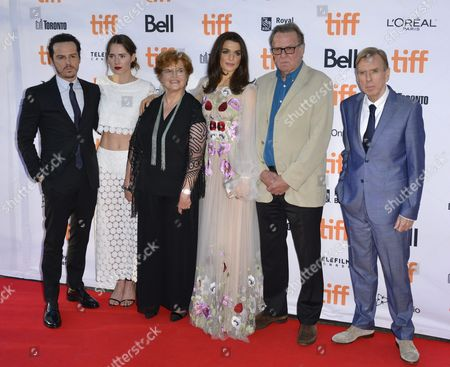 (l-r) Irish Actor and Cast Member Andrew Scott New Zealand Actor and Cast Member Caren Pistorius Us Author Deborah Lipstadt British Actor and Cast Member Rachel Weisz British Actor and Cast Member Tom Wilkinson and British Actor and Cast Member Timothy Spall Arrive For the Screening of the Movie 'Denial' During the 41st Annual Toronto International Film Festival (tiff) in Toronto Canada 11 September 2016 the Festival Runs From 08 to 18 September Canada Toronto