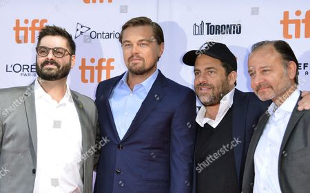 (l-r) Tim Pastore From the National Geographic Channel Us Actor and Producer Leonardo Dicaprio Us Producer Brett Ratner and Us Director Fisher Stevens Arrive For the Screening of the Documentary 'Before the Flood' During the 41st Annual Toronto International Film Festival (tiff) in Toronto Canada 09 September 2016 the Festival Runs From 08 to 18 September Canada Toronto