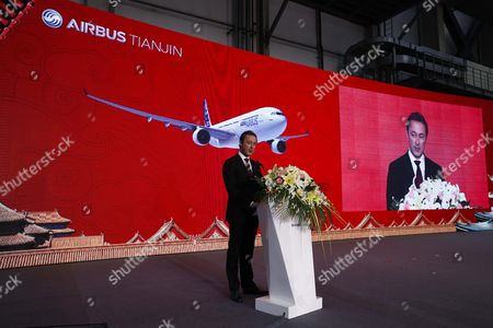 Airbus President and Ceo Fabrice Bregier Delivers a Speech During a Ground-breaking Ceremony For an A330 Completion and Delivery Center at Airbus Tianjin Facilities in Tianjin Municipality China 02 March 2016 the Facility Will Be Installing Cabins and Furnishing and Conduct Exterior Painting in Airbus Aircraft Coming From Its Assembly Line in France China Tianjin