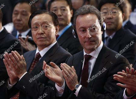 China's National Development and Reform Commission Vice-minister Lin Nianxiu (l) and Airbus President and Ceo Fabrice Bregier (r) Applaud During a Ground-breaking Ceremony For an A330 Completion and Delivery Center at Airbus Tianjin Facilities in Tianjin Municipality China 02 March 2016 the Facility Will Be Installing Cabins and Furnishing and Conduct Exterior Painting in Airbus Aircraft Coming From Its Assembly Line in France China Tianjin
