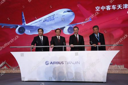 (l-r) Tianjin Vice-mayor Duan Chunhua National Development and Reform Commission Vice-minister Lin Nianxiu Airbus President and Ceo Fabrice Bregier and Aviation Industry Corporation of China President Lin Zuoming Lead a Ground-breaking Ceremony For an A330 Completion and Delivery Center at Airbus Tianjin Facilities in Tianjin Municipality China 02 March 2016 the Facility Will Be Installing Cabins and Furnishing and Conduct Exterior Painting in Airbus Aircraft Coming From Its Assembly Line in France China Tianjin