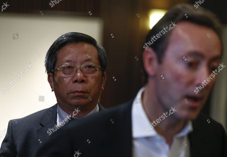 Airbus China President Eric Chen (l) Looks As Fabrice Bregier (r) Airbus President and Ceo Answers Media Questions at a Hotel in Tianjin Municipality China 01 March 2016 Aircraft Manufacturer Airbus is Expected to Hold Groundbreaking Ceremonies For the Completion and Delivery Center in Eastern China's Tianjin Municipality the Facility Will Be Installing Cabins Furnishing and Painting the Exterior of the Airbus Aircraft Coming From Its Assembly Line in France China Tianjin