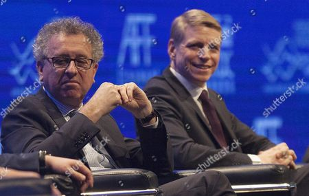 Pierre Gramegna (l) Minister of Finance of Luxembourg and Per Bolund Minister For Financial Markets and Consumer Affairs of Sweden at the 9th Asian Financial Forum in Hong Kong China 18 January 2016 China Hong Kong