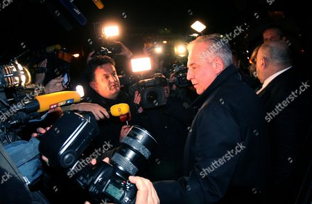 Former Croatia's Prime Minister Ivo Sanader Gives a Statement to the Media While Leaving Remetinec Jail in Zagreb Croatia 25 November 2015 Croatia's Constitutional Court Has Ruled That Former Prime Minister Ivo Sanader Should Be Released From Detention While on Trial For Corruption Sanader is Facing Charges of Corruption Abuse of Position and War Profiteering While in Office Croatia Zagreb