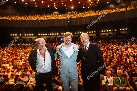 (l-r) Austrian Actor Johannes Krisch German Director Sven Taddicken and German Actor Ulrich Tukur Pose For Photographers Before the Movie Screening 'Original Bliss' During the 51st Karlovy Vary International Film Festival in Karlovy Vary Czech Republic 02 July 2016 the Festival Runs From 01 to 09 July Czech Republic Karlovy Vary