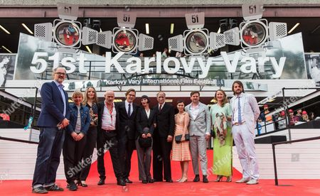 Austrian Actor Johannes Krisch (4-l) German Director Sven Taddicken (3-r) and German Actor Ulrich Tukur (5-r) with His Wife Katharina John (6-r) Pose For Photographers with Cast Members on the Red Carpet of the Movie Screening 'Original Bliss' During the 51st Karlovy Vary International Film Festival in Karlovy Vary Czech Republic 02 July 2016 the Festival Runs From 01 to 09 July Czech Republic Karlovy Vary