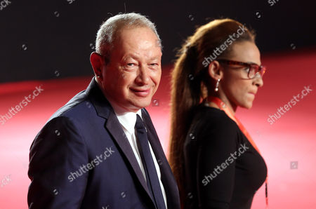 Egyptian Businessman Naguib Sawiris (l) Attends the Opening Ceremony of the 37th Cairo International Film Festival (ciff) in Cairo Egypt 11 November 2015 the Ciff Runs From 11 to 20 November Egypt Cairo
