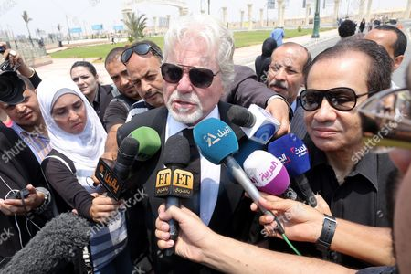 Egyptian Actor Hussein Fahmy (c) is Surrounded by Media As He Attends the Funeral of Egyptian Actor Omar Sharif at the Mushir Tantawi Mosque in Cairo Egypt 12 July 2015 According to the Egyptian Actor's Agent Omar Sharif Died at the Age of 83 of a Heart Attack at a Hospital in Cairo Egypt Cairo