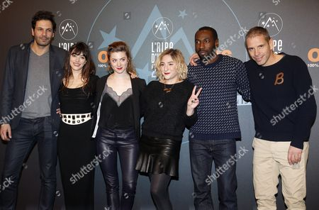 (l-r) French Actors Mehdi Nebbou Vanessa Guide Sarah Suco Producer Marilou Berry Cyril Guei and Medi Sadoun Attend the 19th Annual International Comedy Film Festival in L'alpe D'huez France 15 January 2016 the Festival Runs From 13 to 17 January France Alpe D'huez