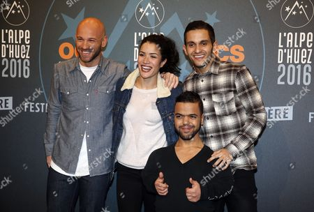 French Actors Franck Gastambide (l) Sabrina Ouazani (2-l) Anouar Toubali (2-r) and Malik Bentalha Attend the Closing Ceremony of the 19th Annual International Comedy Film Festival in L'alpe D'huez France 16 January 2016 the Festival Runs From 13 to 17 January France Alpe D'huez