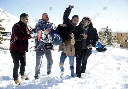 (l-r) French Actors Malik Bentalha Franck Gastambide Anouar Toubali Sabrina Ouazani and Ramzy Bedia Pose During the Photocall For 'Pattaya' at the 19th Annual International Comedy Film Festival in L'alpe D'huez France 15 January 2016 the Festival Runs From 13 to 17 January France Alpe D'huez