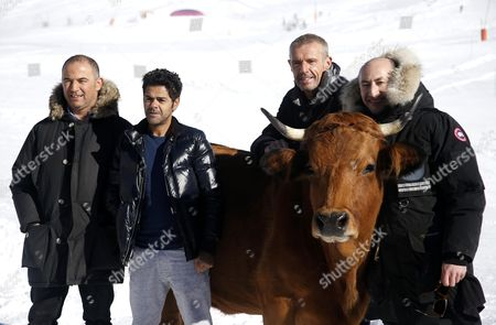 (l-r) French Director Mohamed Hamidi and French Actors Jamel Debbouze Lambert Wilson and Fatsah Bouyahmed Pose with a Cow During the Photocall For 'La Vache' at the 19th Annual International Comedy Film Festival in L'alpe D'huez France 15 January 2016 the Festival Runs From 13 to 17 January France Alpe D'huez